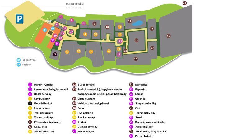Mapa ZOO - Dvorec u Borovan