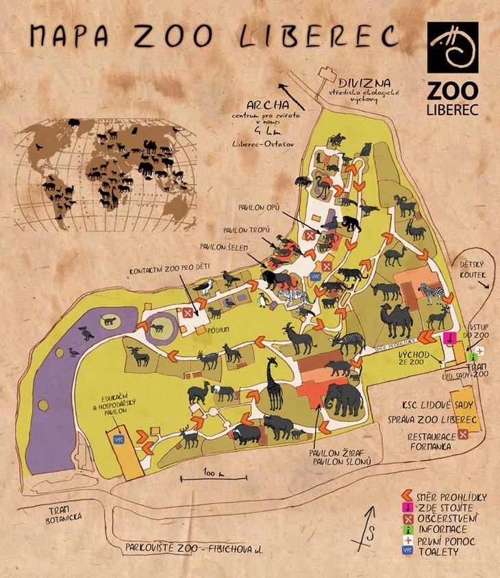 Mapa ZOO - Liberec