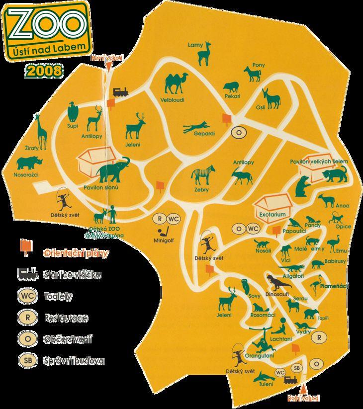 Mapa ZOO - Ústí nad Labem