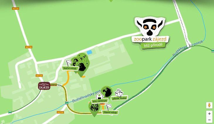 Mapa ZOO - Zoopark Zájezd